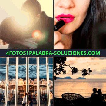 4 Fotos 1 Palabra - personas besándose, mujer pintando sus labios, maquillando sus labios, pareja sentada en el atardecer