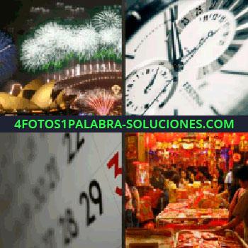 4 Fotos 1 Palabra - reloj casi las 12, fuegos artificiales, calendario, gente celebrando