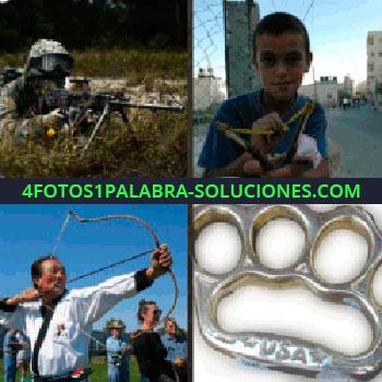 4 Fotos 1 Palabra - soldado con un rifle, niño con una gomera, hombre con arco y flecha, llavero