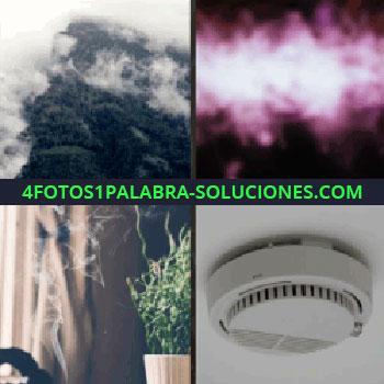 4 Fotos 1 Palabra - detector de humo en el techo, montañas con neblina, sahumerio