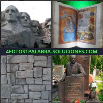 4 Fotos 1 Palabra - estatuas caras gigantes, Presidentes en el monte Rushmore, Muro de piedras, Estatua de hierro o bronce