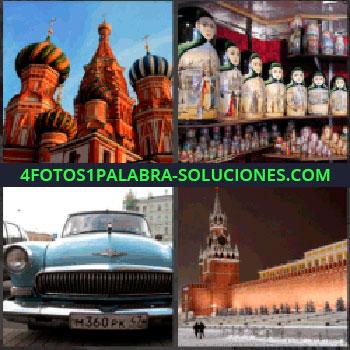 4 Fotos 1 Palabra - plaza roja, Catedral de San Basilio, Matrioshkas o Matrioskas, Coche o carro antiguo, Rusia