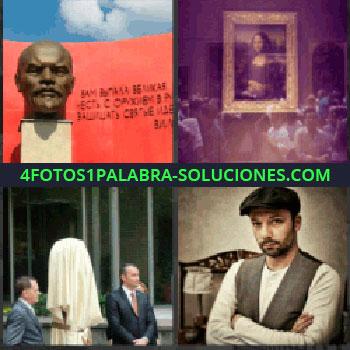 4 Fotos 1 Palabra - escultura cabeza, Cuadro La Gioconda, Dos señores con traje inauguración, Joven con chaleco y gorra