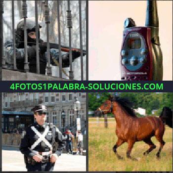 4 Fotos 1 Palabra - Hombre de fuerzas de seguridad disparando, Walkie talkie, Agente de tráfico, Caballo.