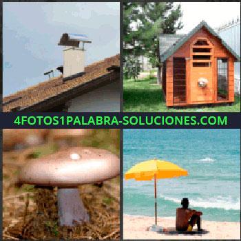 4 Fotos 1 Palabra - chimenea, Casa pequeña o caseta, Hongo seta o champiñon, Hombre con sombrilla o parasol en la playa.