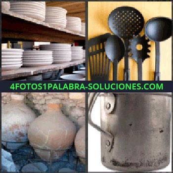 4 Fotos 1 Palabra - platos, Utensilios de cocina, Tinas o tinajas, Cazo metálico