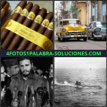 4 Fotos 1 Palabra - puros, Coches antiguos, Fidel Castro hablando con micrófonos, Submarino en el océano
