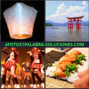 4 Fotos 1 Palabra - Lampara de papel voladora llamada en china Khom Fay, Arco de adorno rojo en medio de lago, Señoritas con falda roja cantando, Sushi.