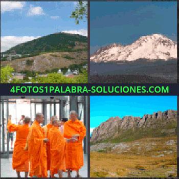 4 Fotos 1 Palabra - budistas, Foto del campo, Cordillera nevada, Monjes budistas, Naturaleza