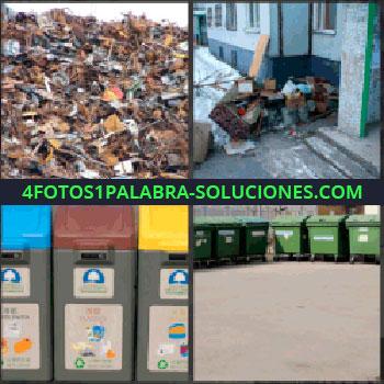 4 Fotos 1 Palabra - vertedero, Suciedad en la calle, Cubos de reciclaje, Contenedores de la basura