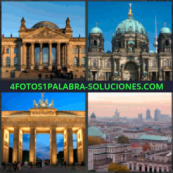 4 Fotos 1 Palabra - Edificio gubernamental, Congreso o senado, Edificio religioso, Catedral, Arco, Ciudad
