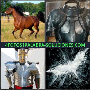 4 Fotos 1 Palabra - caballo castaño, Armadura, Armadura completa antigua, Cristal con señal de murciélago, Batman