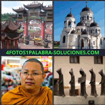 4 Fotos 1 Palabra - budista, Edificación religiosa japonesa o china, Catedral, Hombres con capucha, Religiosos