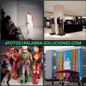 4 Fotos 1 Palabra - modelo pasarela, Tienda de ropa con trajes, Modelos con ropas muy coloridas, Oficinas con símbolo de Apple