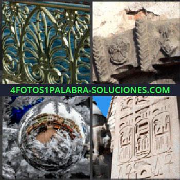 4 Fotos 1 Palabra - barandilla, Adornos en piedra antiguos, Bola de navidad sobre árbol, Grabados en piedra