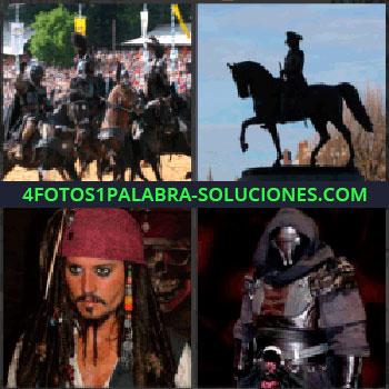 4 Fotos 1 Palabra - lucha entre caballeros o Justa, Estatua de hombre a caballo, Capitán Jack Sparrow, Uniforme guerrero