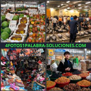 4 Fotos 1 Palabra - frutería, Lonja de pescado, Tienda de ropa, Joven con tienda de frutos secos