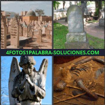 4 Fotos 1 Palabra - cementerio, Lápida, Estatua de un angel, Cadaver semi momificado
