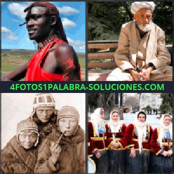 4 Fotos 1 Palabra - africano, Señor judio, Personas de Mongolia, Señoras con trajes regionales o tradicionales