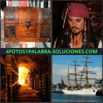 4 Fotos 1 Palabra - Jack Sparrow, Baul, Capitán pirata, Tuneles, Barco velero, Galeón, Carabela