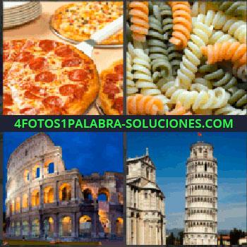 4 Fotos 1 Palabra - pizza, Pasta, El Coliseo romano, Torre de Pisa