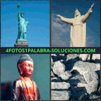 4 Fotos 1 Palabra - Estatua de la Libertad, Cristo redentor Rio de Janeiro, Buda o budista, Rocas o piedras