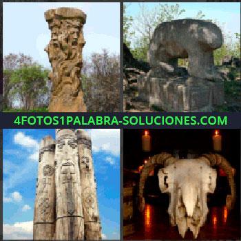 4 Fotos 1 Palabra - estatuas dioses antiguos, Estatua de piedra animal, Monolitos, Craneo con cuernos animal