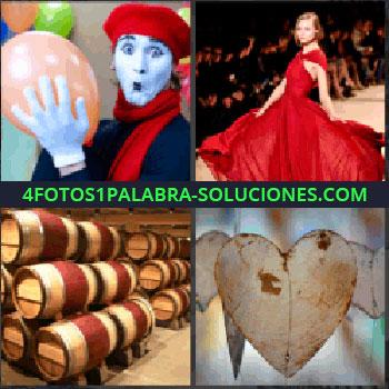 4 Fotos 1 Palabra - mimo payaso o arlequin, Mujer con vestido rojo, Bodega con barriles de vino, Corazón.