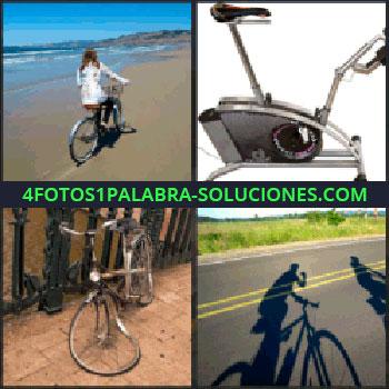 4 Fotos 1 Palabra - Mujer en la playa con bicicleta, bicicleta de spinning, rueda rota, sombras de ciclistas en carretera