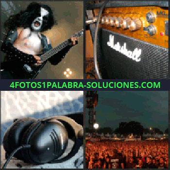 4 Fotos 1 Palabra - Guitarrista, rockero con cara pintada tocando guitarra eléctrica, altavoz, publico de un concierto, auriculares