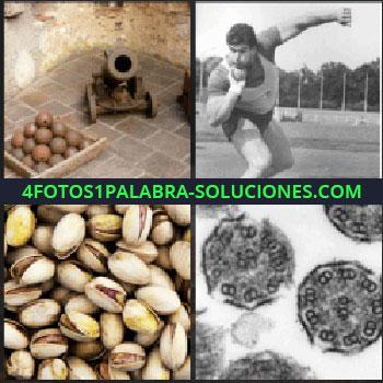 4 Fotos 1 Palabra - Cañón y balas de cañón, lanzador de pesos, células, pistaches o pistachos