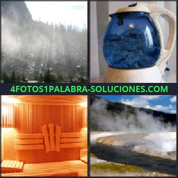 4 Fotos 1 Palabra - Paisaje de bosque con niebla, hervidor de agua, géiser, aguas termales, sauna