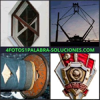 4 Fotos 1 Palabra - Ventana con forma hexagonal, cableado, empuñadura azul y blanca, escudo