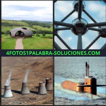 4 Fotos 1 Palabra - Monumento representativo de Bruselas, chimeneas de central atómica, submarino, paisaje con estructura de hierro