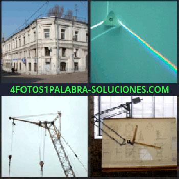 4 Fotos 1 Palabra - Planos, reflector, rayo de luz de colores como arco iris, grua edificio