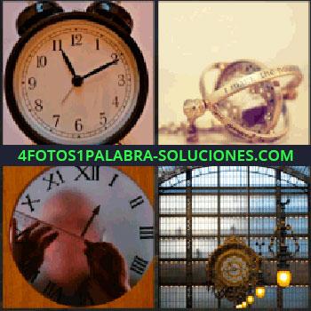 4 Fotos 1 Palabra - Reloj despertador, reloj de pared, reloj de la estación, relojes