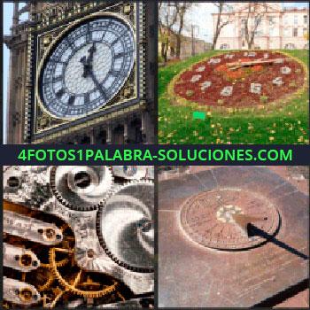 4 Fotos 1 Palabra - Torre Big Ben, reloj de flores, mecanismo de reloj, reloj solar