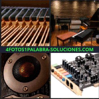 4 Fotos 1 Palabra - Sala con pianos, tarjeta de sonido, instrumento musical, altavoz