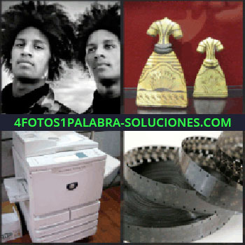 4 Fotos 1 Palabra - Figuritas de vestidos, dos chicos con pelo a lo afro, cinta de negativos, fotocopiadora