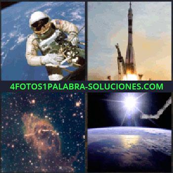 4 Fotos 1 Palabra - Nave espacial despegando, cielo estrellado, universo, estación espacial, la tierra vista desde el espacio, astronauta