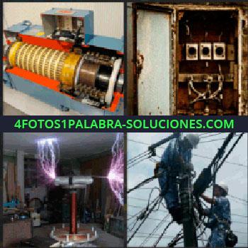 4 Fotos 1 Palabra - Transformador eléctrico, caja de enchufes, rayos de electricidad, dos hombres reparando cableado, electricistas