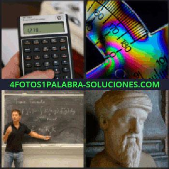 4 Fotos 1 Palabra - Regla semicircular, profesor en pizarrón, busto de hombre con barba, transportador, calculadora