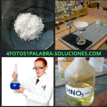 4 Fotos 1 Palabra - HNO3, polvo blanco, científica con líquido azul, laboratorio, probeta, mujer con bata blanca, HNO3