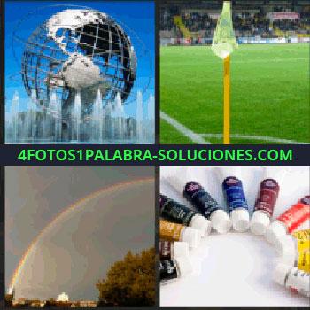 4 Fotos 1 Palabra - Fuente con bola del mundo metálica, arco iris, botes de óleos, pinturas de colores, banderín en campo de fútbol