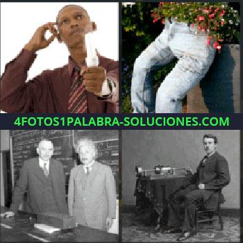 4 Fotos 1 Palabra - Hombre con bombilla en la mano, Albert Einstein frente pizarrón, foto en blanco y negro, pantalones con flores