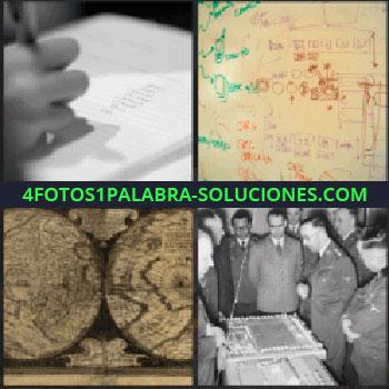 4 Fotos 1 Palabra - Mano escribiendo, gráficos pintados en pizarra blanca, militares preparando estrategia, mapa del mundo