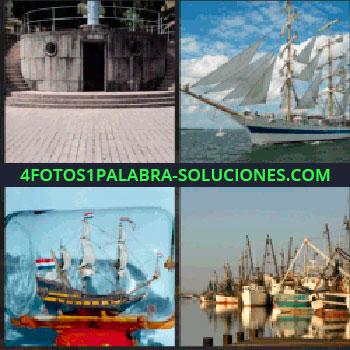 4 Fotos 1 Palabra - Velero, barco de velas blancas, barco dentro de una botella, puerto con barcos, cubierta de un barco, barco