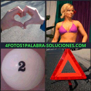 4 Fotos 1 Palabra - Dos manos formando un corazón, mujer con biquini rosa, bola blanca con número 2, triángulo rojo