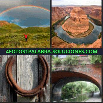 4 Fotos 1 Palabra - Paisaje rocoso con río en forma de U, herradura oxidada sobre madera, puente sobre río, arco iris