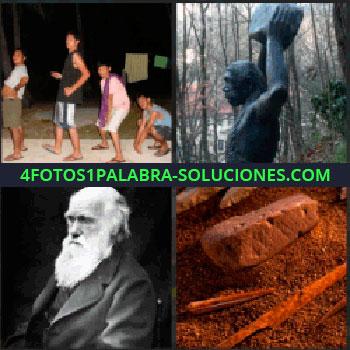 4 Fotos 1 Palabra - 4 personas en fila india, Charles Darwin, piedras y arena rojiza, puntas de flecha de piedra, estatua simio
